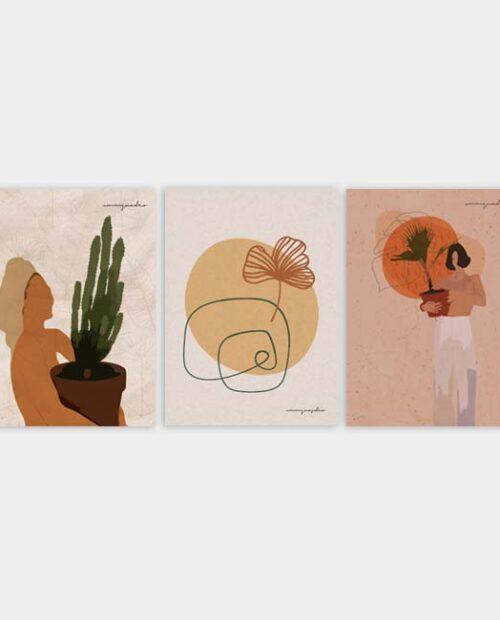 Kit Abstrato Floral - 3 Quadros 6