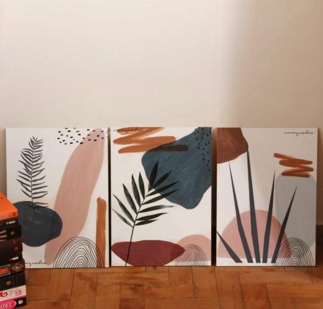 Kit Abstract Plants - 3 Quadros 2