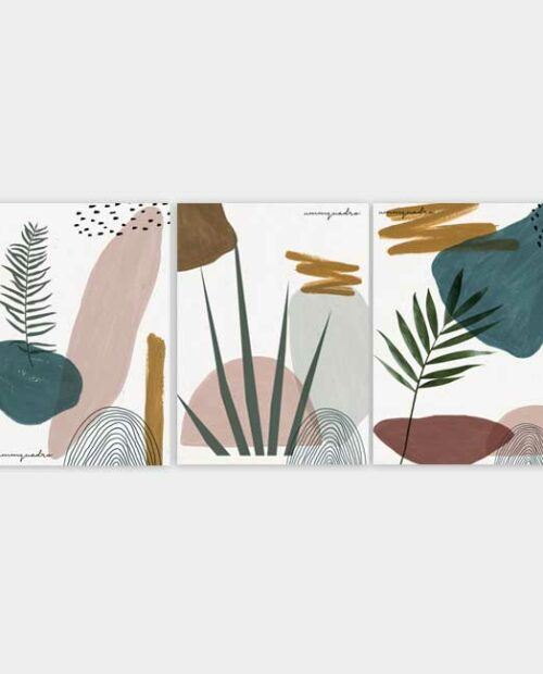 Kit Abstract Plants - 3 Quadros 24