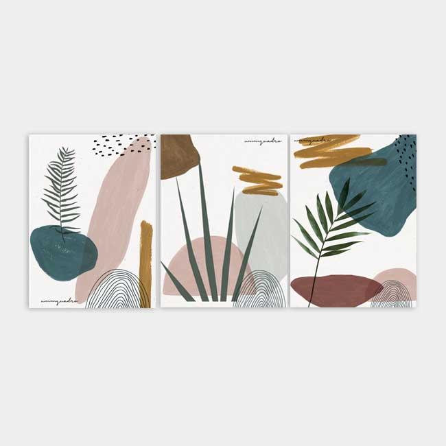 Kit Abstract Plants - 3 Quadros 1