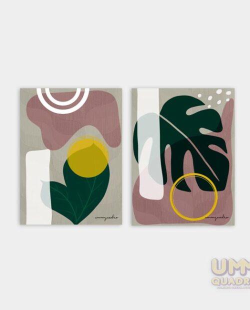 Kit Folhas Abstratas - 2 Quadros 10