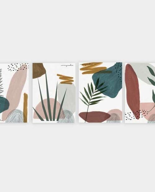 Kit Abstract Plants - 4 Quadros 5