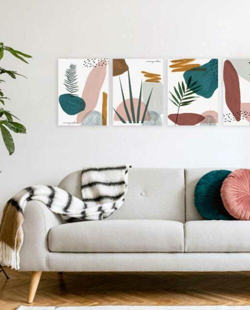 Kit de Quadros Abstract Plants -4 Quadros 13