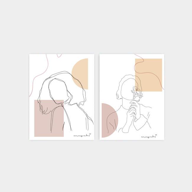 Kit Minimalist Girls - 2 Quadros 1